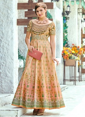 Digital Print Silk Floor Length Gown in Multi Colour