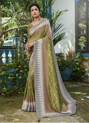 Digital Print Silk Traditional Saree in Green