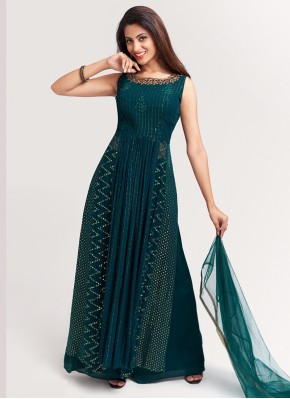 Dignified Ankle Length Suit Hand Embroidery in Green Chiffon
