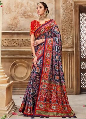 Dignified Blue Patola Silk  Traditional Saree