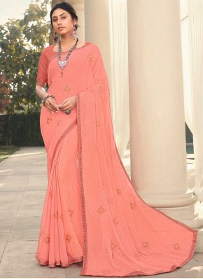 Dignified Embroidered Peach Faux Georgette Classic Designer Saree