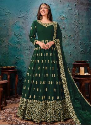 Dignified Faux Georgette Green Anarkali Salwar Kameez