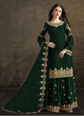 Dignified Green Georgette Designer Suit