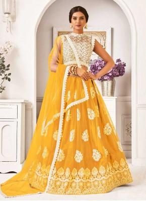 Dignified Lace Yellow Lehenga Choli