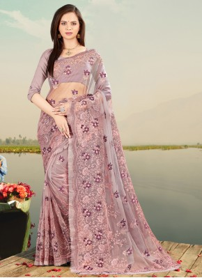 Dignified Net Lavender Resham Designer Saree
