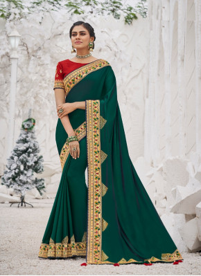 Dignified Stone Work Satin Silk Designer Saree
