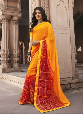 Dilettante Abstract Print Red and Yellow Faux Georgette Shaded Saree