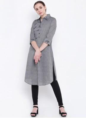 Dilettante Grey Plain Party Wear Kurti