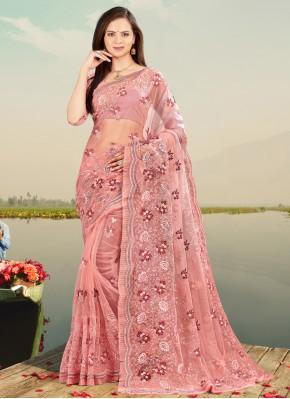 Dilettante Net Pink Embroidered Designer Saree