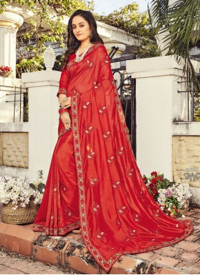 Dilettante Red Designer Traditional Saree