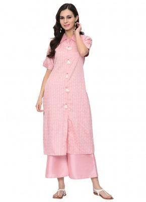 Dilettante Stripe Print Poly Silk Pink Party Wear Kurti
