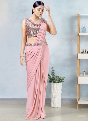 Distinctive Lycra Pink Fancy Designer Saree