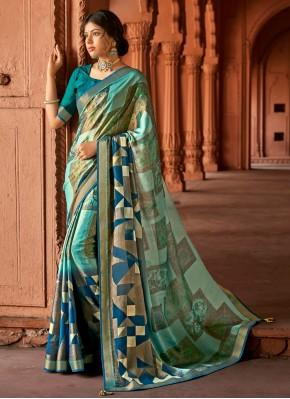 Distinctive Multi Colour Floral Print Brasso Printed Saree