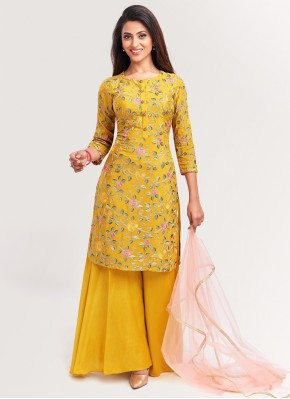 Distinctive Mustard Embroidered Palazzo Suit