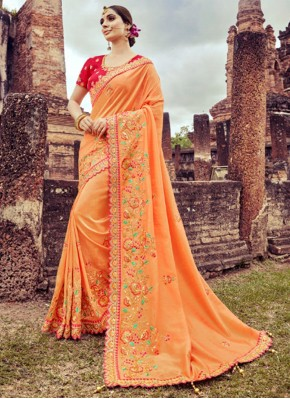 Distinctive Peach Reception Designer Saree