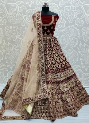 Distinctive Resham Velvet Lehenga Choli
