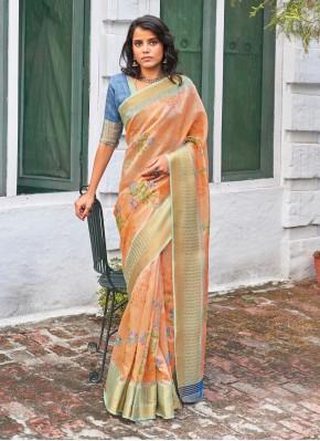 Distinctive Weaving Linen Peach Classic Saree