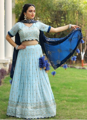 Distinctively Blue and Sky Blue Readymade Lehenga Choli