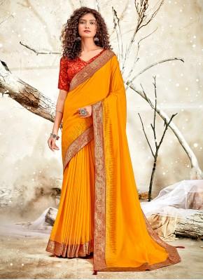 Distinctively Chanderi Patch Border Mustard Traditional Designer Saree
