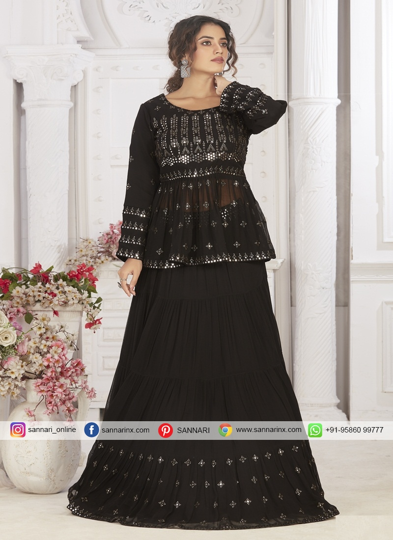 Distinctively Chiffon Sequins Work Ready Made Long Choli Suit