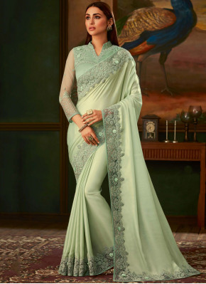 Distinctively Embroidered Sea Green Traditional Designer Saree