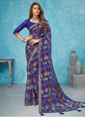Distinctively Faux Chiffon Multi Colour Contemporary Saree