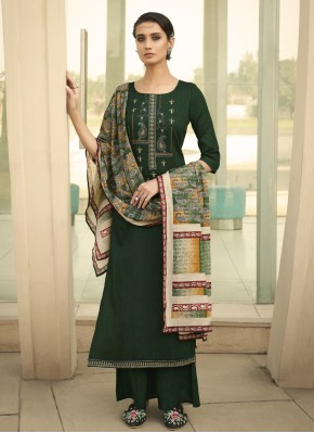 Distinctively Green Print Designer Palazzo Salwar Kameez