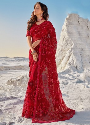 Distinctively Net Embroidered Red Classic Saree