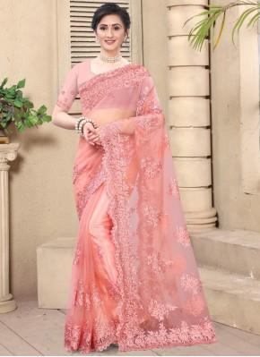 Distinctively Net Resham Pink Classic Saree