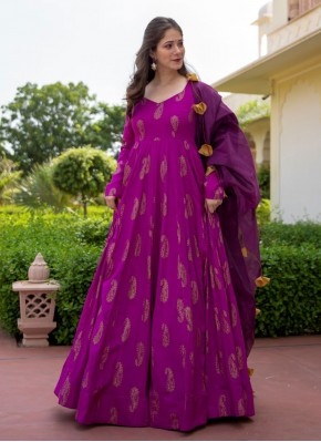 Distinctively Purple Festival Readymade Suit