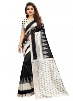 Distinctively Silk Black Traditional Saree