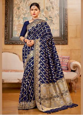Distinctively Silk Embroidered Silk Saree