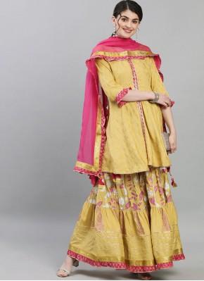 Distinctively Silk Mustard Print Readymade Suit