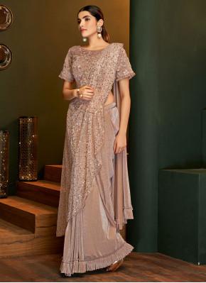 Distinctively Zari Brown Lycra Classic Designer Saree