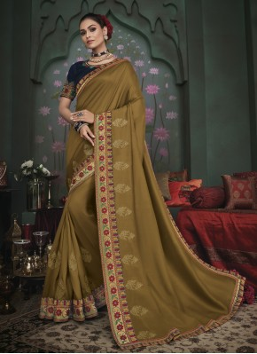 Distinguishable Fancy Fabric Green Embroidered Trendy Saree