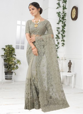 Distinguishable Grey Embroidered Designer Saree