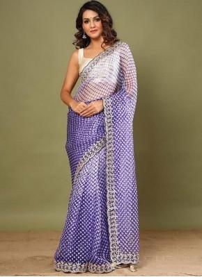 Distinguishable Purple and White Contemporary Saree