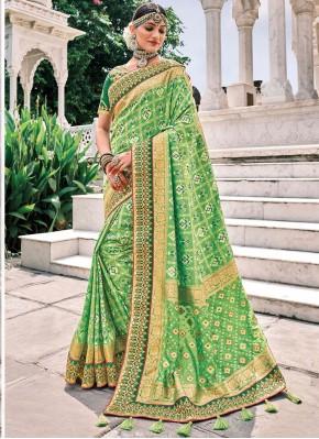 Divine Embroidered Green Silk Trendy Saree