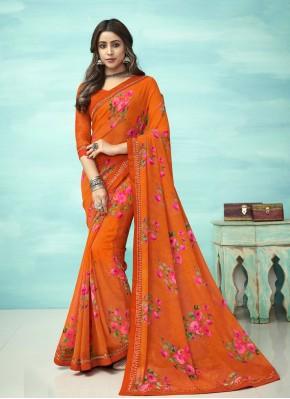 Divine Floral Print Orange Faux Georgette Casual Saree