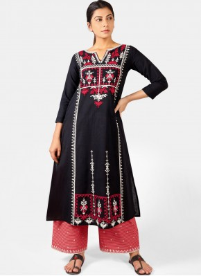 Divine Khadi Embroidered Black Party Wear Kurti