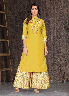 Divine Muslin Embroidered Party Wear Kurti