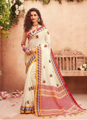Divine Off White Embroidered Classic Designer Saree