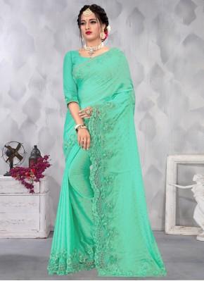 Divine Sea Green Embroidered Designer Saree