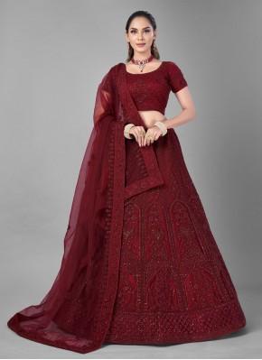 Dori Work Net Lehenga Choli in Red