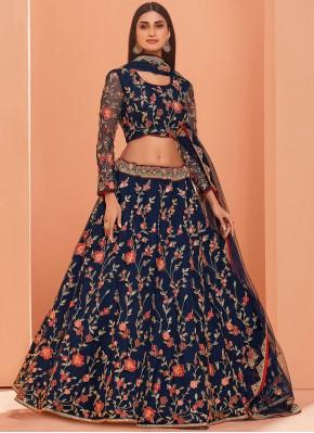 Elegant Embroidered Banglori Silk Blue A Line Lehenga Choli