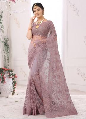 Elegant Net Mauve  Embroidered Designer Saree