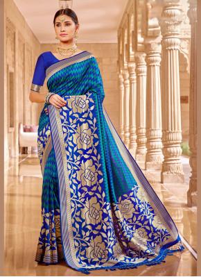 Elite Banarasi Silk Blue Classic Saree