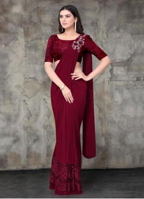 Elite Embroidered Maroon Lycra Trendy Saree