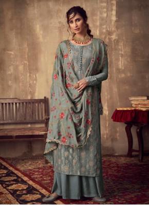 Elite Embroidered Viscose Grey Salwar Kameez