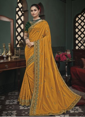 Elite Fancy Fabric Mustard Trendy Saree